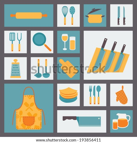 Kitchen and cooking icons set, kitchenware and utensils icons, food vector illustration for restaurants, cafe and culinary blog in flat design. - stock vector