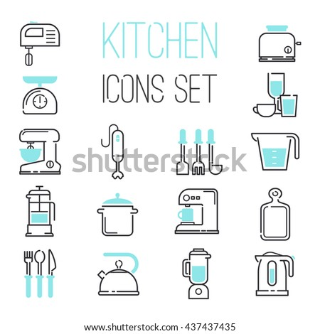 Kitchen and cooking icons white. Vector illustration kitchen icons appliances for cooking. Kitchen icons electronic appliances, cook, whisk, mix until. Coffee and tea preparation. - stock vector