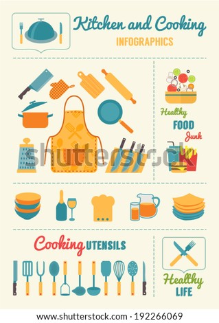 Kitchen and cooking infographics, kitchenware and utensils icons, food vector illustration for restaurants, cafe and culinary blog - stock vector