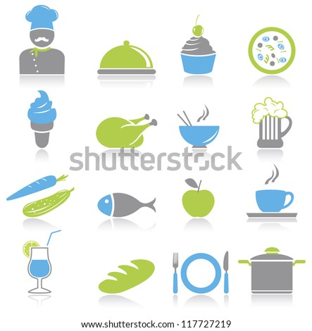 Kitchen and food icons set.Vector illustration - stock vector