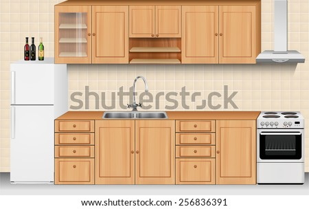 Kitchen and home appliances: bright wooden texture cabinets and drawers with sink and faucet, fridge, gas stove, range cooker hood and beige tiles on wall. house interior vector art image illustration - stock vector