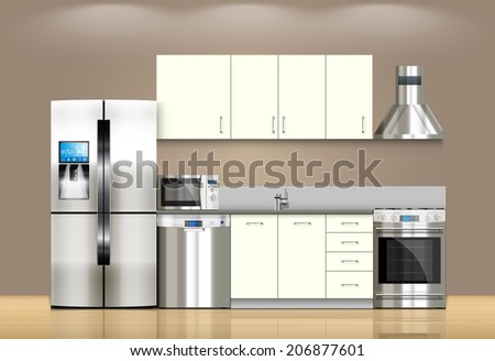 Kitchen and house appliances: microwave, refrigerator, gas stove, dishwasher, range cooker hood, stool, kitchen furniture - stock vector