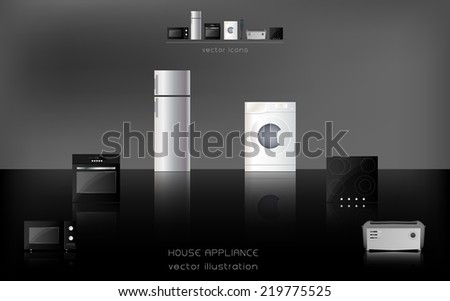 Kitchen and house appliances: microwave, washing machine, refrigerator, gas stove  - stock vector