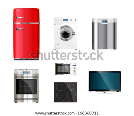 Kitchen and house appliances: microwave, washing machine, refrigerator, gas stove, dishwasher, tv - stock vector