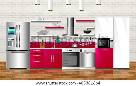 Kitchen And House Appliances Vector Illustration Design Household Cabinets Shelves