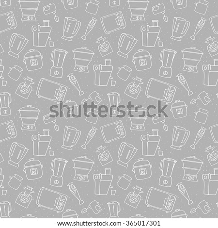 Kitchen appliance seamless pattern. Freehand vector sketches of  consumer electronics - stock vector