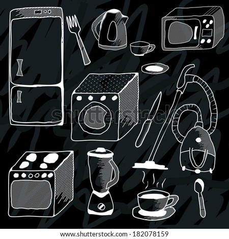kitchen appliances - stock vector