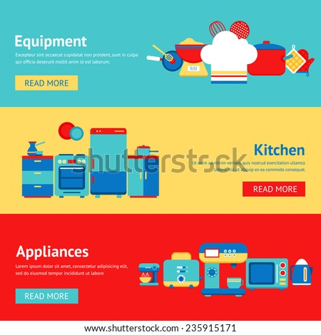 Kitchen appliances and equipment flat banner set with coffee machine mixer fridge isolated vector illustration - stock vector