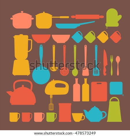 Kitchen appliances. Cooking tools and kitchenware equipment silhouettes. Big set. Vector illustration