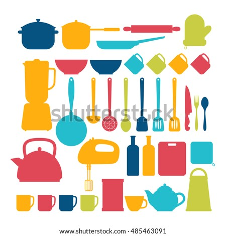 Kitchen appliances. Cooking tools and kitchenware equipment silhouettes. Vector illustration