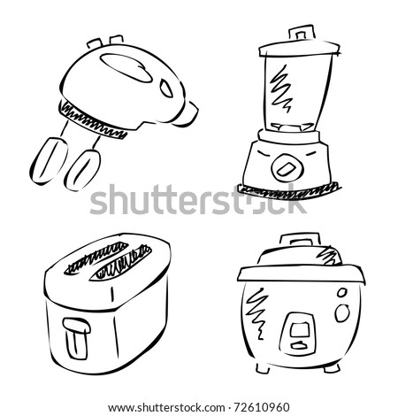 kitchen appliances doodle - stock vector