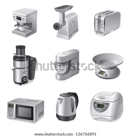 kitchen appliances icon set - stock vector