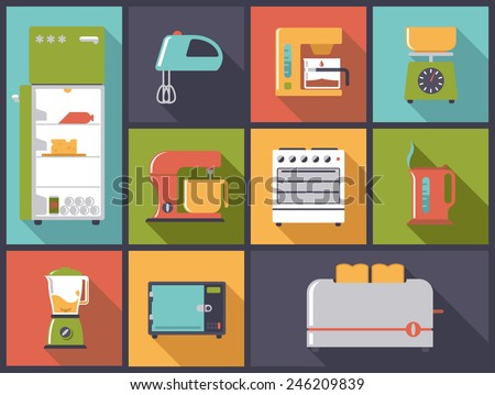 Kitchen Appliances icons vector illustration. Flat design illustration with various electric cooking appliances. - stock vector