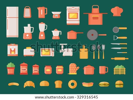 Kitchen appliances utensils and electronics colorful flat design icons set  - stock vector