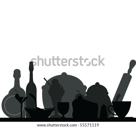kitchen background, food and drink