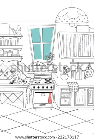 Kitchen Cartoon Style Background