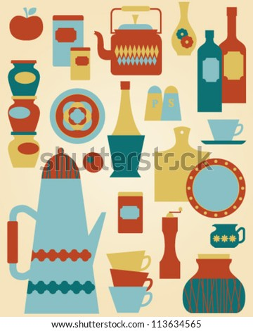 kitchen collection - stock vector