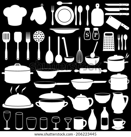 Kitchen Cooking Icons Set - stock vector