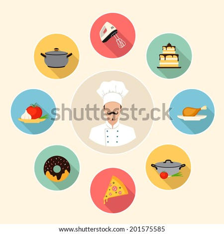 kitchen, cooking, restaurant and food flat style infographics background with icons. template elements for web and mobile applications - stock vector