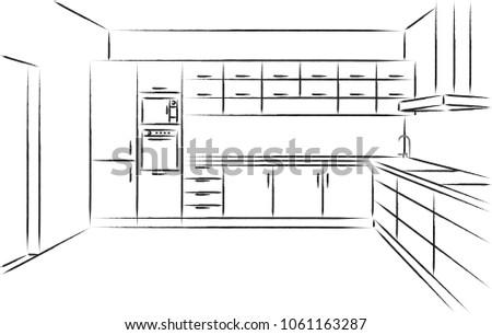 kitchen drawing perspective. Contemporary Kitchen Kitchen Corner Sketch Modern Plan Interior Front View Perspective Brush Drawing  Kitchen Project Design For Drawing