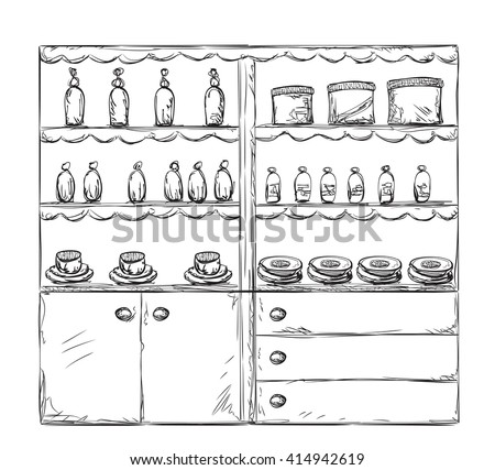 cupboard clipart black and white. kitchen cupboard, shelves. hand drawn furniture cupboard clipart black and white