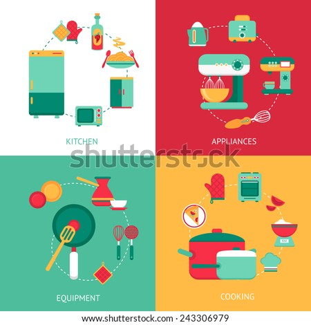 Kitchen design concept with cooking equipment and appliances isolated vector illustration - stock vector