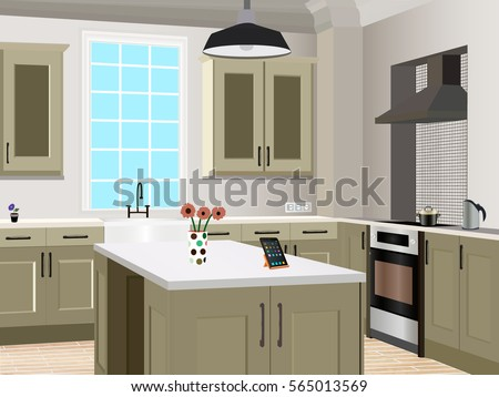 Cartoon kitchen stock images royalty free images for Interior design kitchen symbols