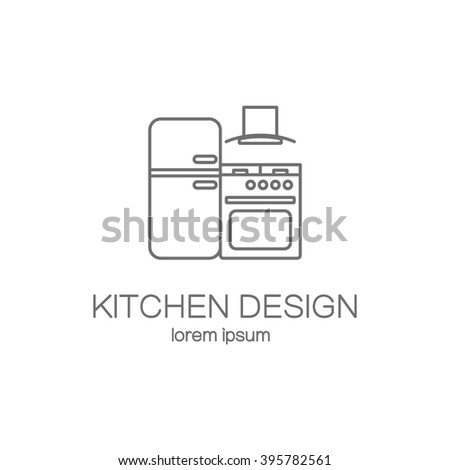 Nice Kitchen Design Line Icon Web Logotype Design Templates. Modern Easy To Edit  Logo Template. Part 13