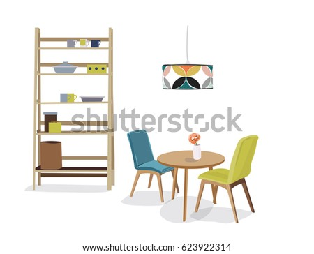 Kitchen Dining Room Interior Design Vector Stock 623922314