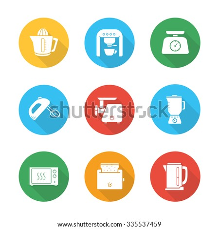 Kitchen electronics flat design icons set. White goods long shadow round symbols. Cooking equipment white silhouette illustrations on color circles. Microwave and mixer vector kitchenware appliances - stock vector