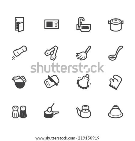 kitchen element vector black icon set on white background  - stock vector