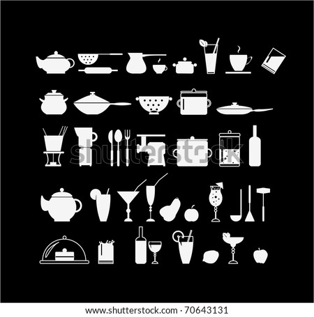 Kitchen elements - stock vector
