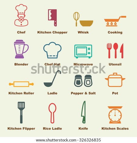 kitchen elements, vector infographic icons - stock vector
