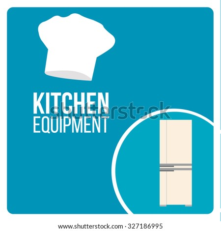 kitchen equipment illustration over blue color background - stock vector