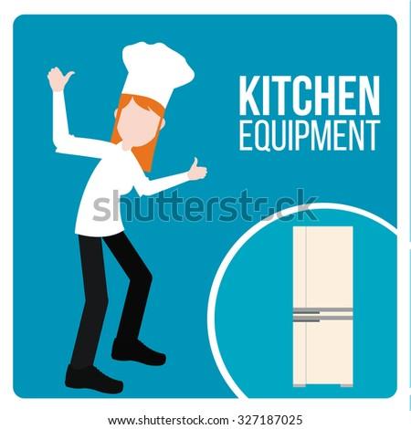 kitchen equipment illustration over blue color background - stock vector