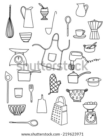 Kitchen equipment isolated vector hand drawn doodle icons in black and white - stock vector