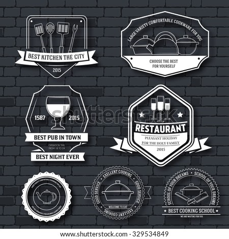 Kitchen equipment label template set. Emblem element for your product or design, web and mobile applications with text. Vector illustration with thin lines isolated icons on stamp symbol - stock vector