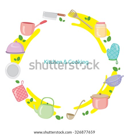 Kitchen Equipment On Circle Frame, Kitchen, Kitchenware, Crockery, Cooking, Food, Bakery, Lifestyle - stock vector