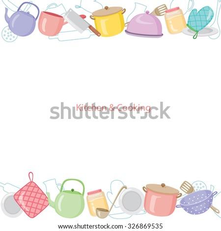 Kitchen Equipments Background, Kitchen, Kitchenware, Crockery, Cooking, Food, Bakery, Lifestyle - stock vector