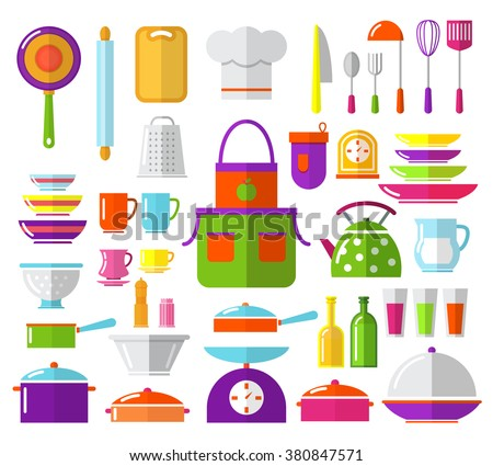 Kitchen flat icons. Ware, apron, cap cook, pan, frying pan, scales, serving spoon, knives, coffee, vinegar, salt, teapot,jug milk. Subjects for flat design kitchen - stock vector