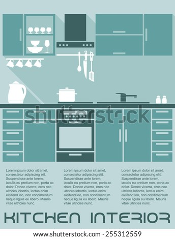 Kitchen flat interior design template in shades of blue with a fitted kitchen with cabinets and electrical appliances with editable text copyspace - stock vector