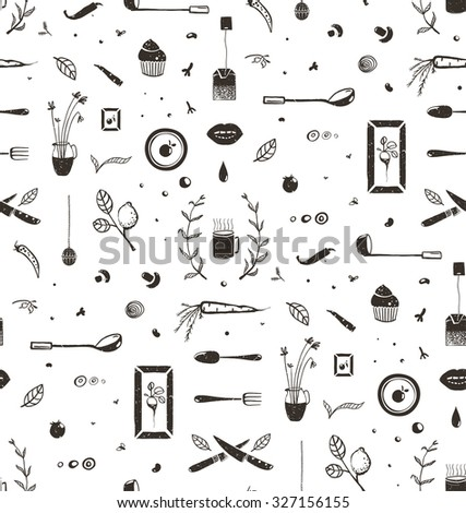 Kitchen Food and Drinking Tea Cosy Seamless Pattern Background. Eat and Drink black and white rustic sketchy decorative tileable illustration. Vector EPS10. - stock vector