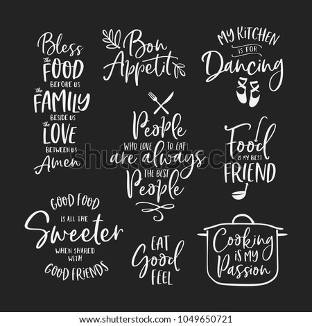 Kitchen Food Cooking Related Quotes Set Stock Vector 1049650721 ...