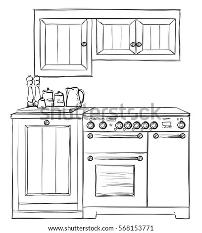 Kitchen Furniture Sketch Hand Drawn Cupboard Interior