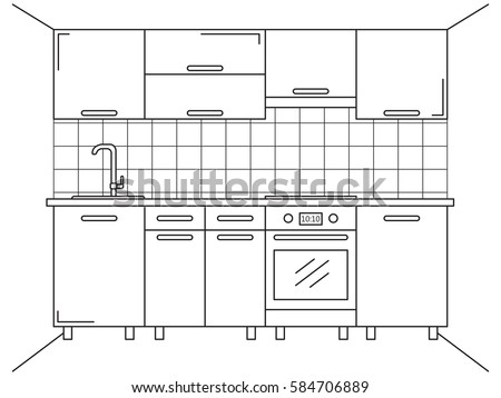 Kitchen Furniture. Sketch In Line Style. Vector Illustration. Plan Kitchen.