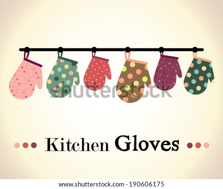 Kitchen gloves illustration - stock vector