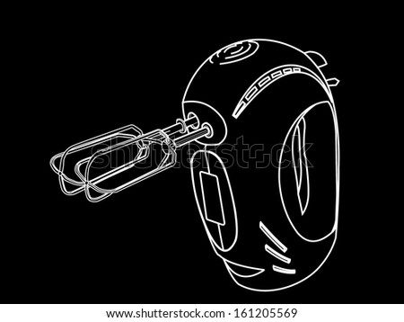 Kitchen hand mixer vector isolated on black background, in white lines. - stock vector
