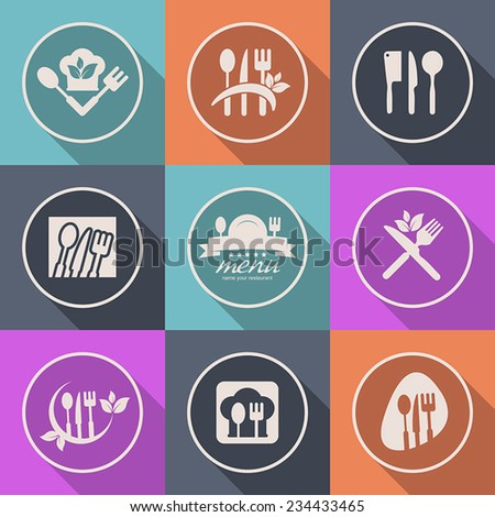 kitchen icon menu cuisine healthy food - stock vector