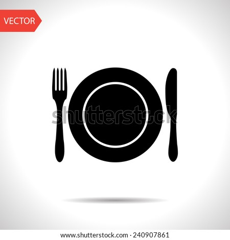 kitchen icon of dish, fork and knife - stock vector