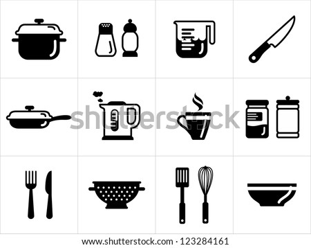 Kitchen icons in black and white - stock vector
